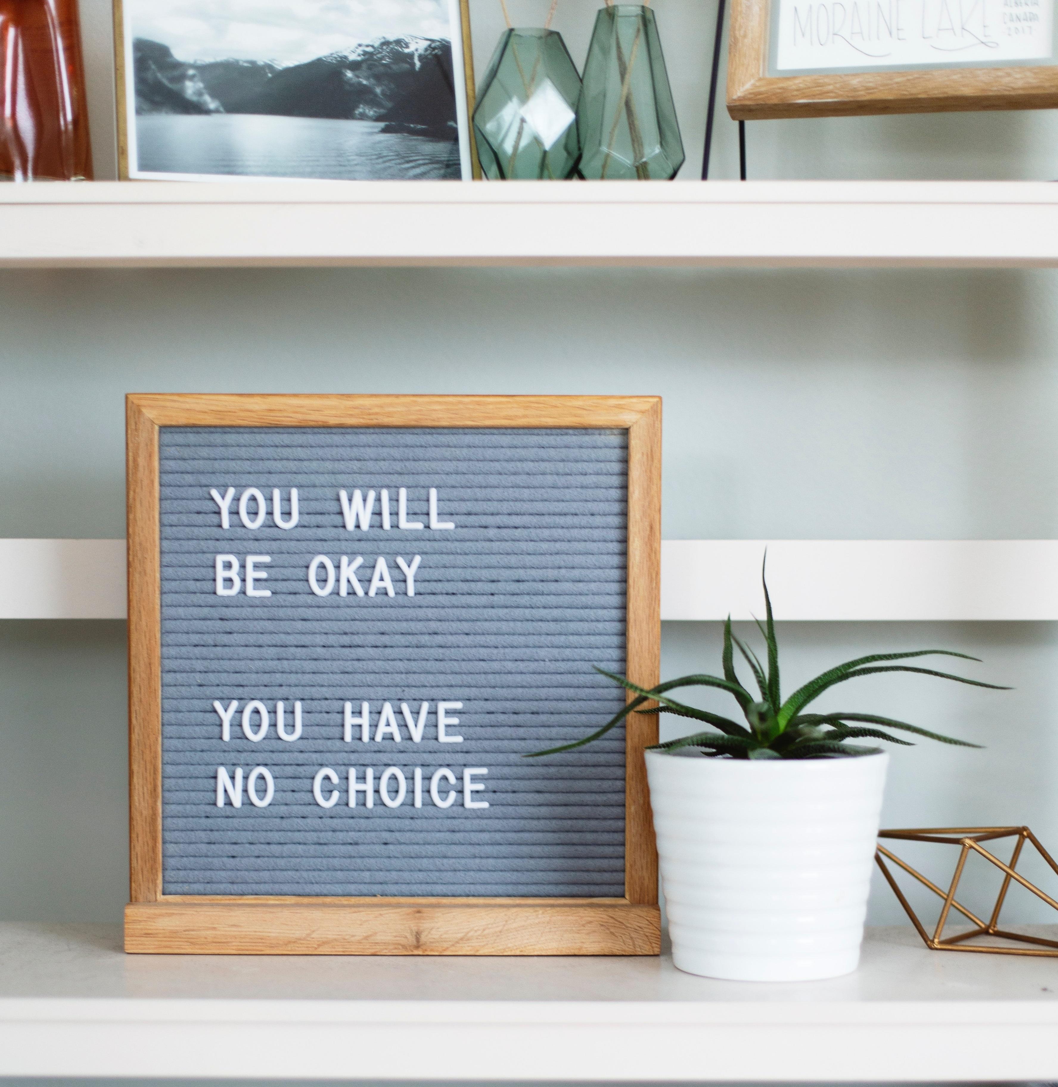 kirjahyllyllä kyltti, jossa teksti: you will be okay, you have no choice.